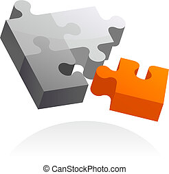 Abstract vector design element - 6 - Abstract 3D puzzle...