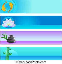 Zen background templates - A set of vector banner templates...