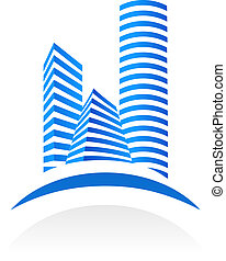 Real estate symbol - Blue vector real estate symbol on white...