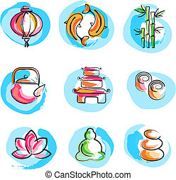 Collection of Zen images - A set of icons in Chinese and...