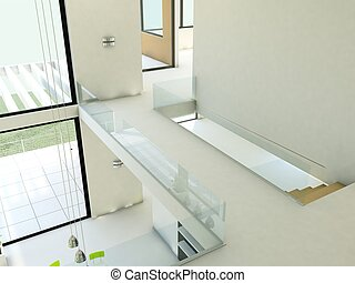 Empty apartment with white walls