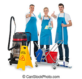 Janitors With Cleaning Equipments - Group Of Janitors With...
