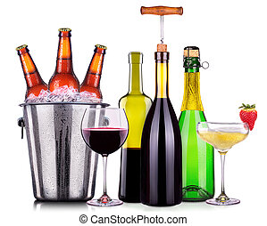 Set of different alcoholic drinks and cocktails isolated on...