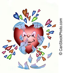 New born love - vector drawing of a baby heart being born...