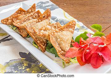 Crispy Gau Gee - Pork, shrimp and vegetables deep fried in...