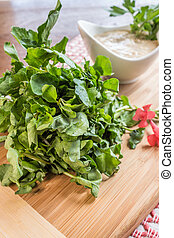 Watercress Appetizer - Fresh watercress served with dipping...