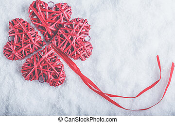 beautiful romantic vintage red hearts together on a white...