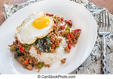 Thai Loco Moco - Thai version of loco moco made with rice, a...