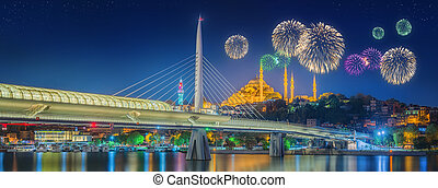 Ataturk bridge, metro bridge and beautiful fireworks,...