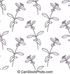 Hand drawn stevia branch outline seamless pattern Doodle...