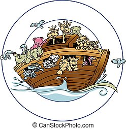 Noahs Ark Version - great vector drawing of ark and animals