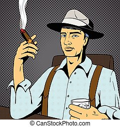 Man with whiskey and cigar pop art vector