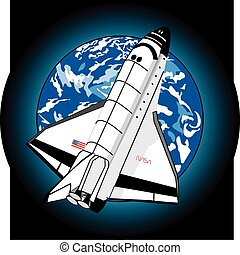 Moon Shuttle - space shuttle above earth, great coloring,...