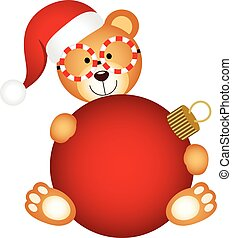 Christmas teddy bear with ball