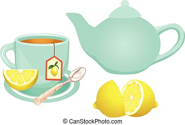 Lemon Tea Set - Scalable vectorial image representing a...
