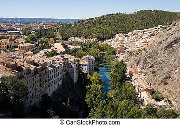 Cuenca in Castilla-La Mancha, Spain - Aerial view of river...