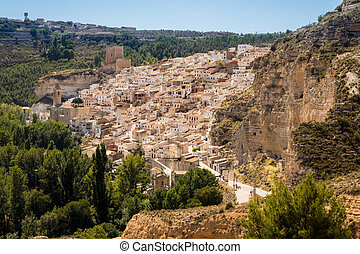 Overview of Alcala del Jucar in Castilla-La Mancha, Spain -...
