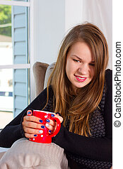beautiful woman drinking tea in the morning - beautiful...