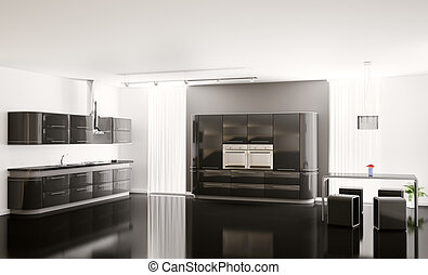 Interior of modern black kitchen 3d