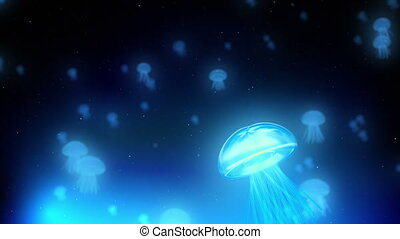 Blue Jellyfish Loop - A large numbers of blue glowing...
