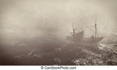 Fishing boat at heavy storm with lightnings - Heavy storm in...