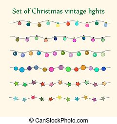 Christmas string lights Vector set - Retro vector set of...