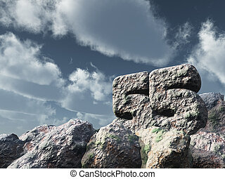 number fifty five rock under cloudy blue sky - 3d...