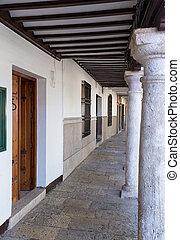 Almagro in Castilla-La Mancha, Spain - Pillars and covered...