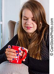 beautiful woman drinking tea in the morning - beautiful...