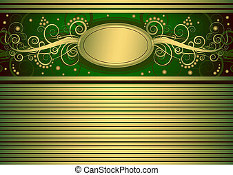 Gold and green vintage card (vector)