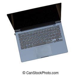 Overhead top view of isolated laptop - Overhead view of cut...