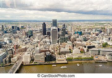 London City Skyline, Modern Skyscrapers in London financial...