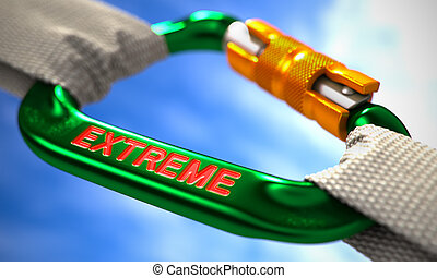 Extreme on Green Carabiner between White Ropes. - Green...