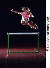 encima, valla, mujer, Atleta, Saltar
