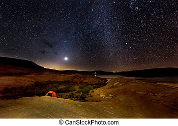 Single Tent under the Milky Way Lake Powell Night Landscapes...