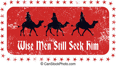 Christmas Magi Rubber Stamp - A vintage style grunge rubber...