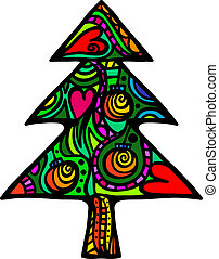Christmas Tree - A folk art style Christmas tree designed...