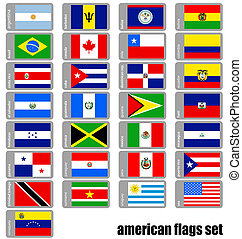 american flags set - set of flags of the american countries...