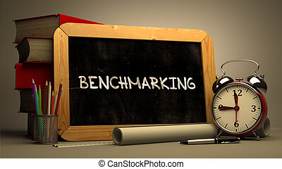Hand Drawn Benchmarking Concept on Chalkboard - Hand Drawn...