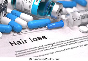 cabelo, perda, médico,  -, conceito