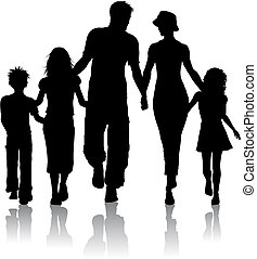 Family silhouette - Silhouette of a family walking together