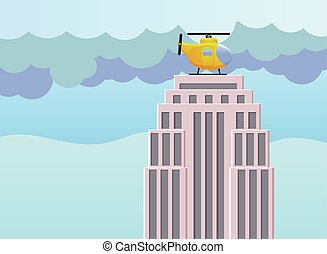 Helicopter on top of the building - Vector illustration of a...