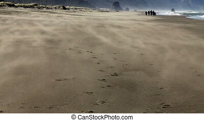 Sand Blowing Away From Camera On Be