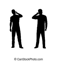 Silhouette of the person with phone