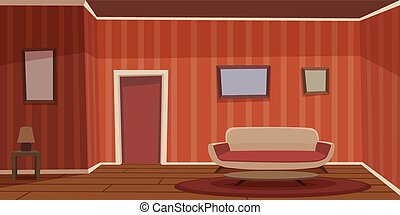 Retro Living Room - Cartoon illustration of the retro living...