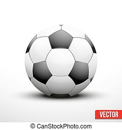 Soccer ball in the traditional two-tone colors on white...