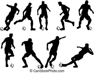 football players - Silhouettes of football players in...