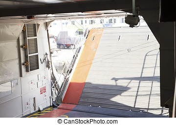 Ferry boat interior - Ferry boat arriving in the harbor -...