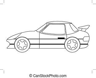 sport car - outline illustration of sport car