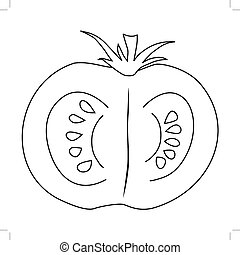 cutting tomato - outline illustration of cutting tomato